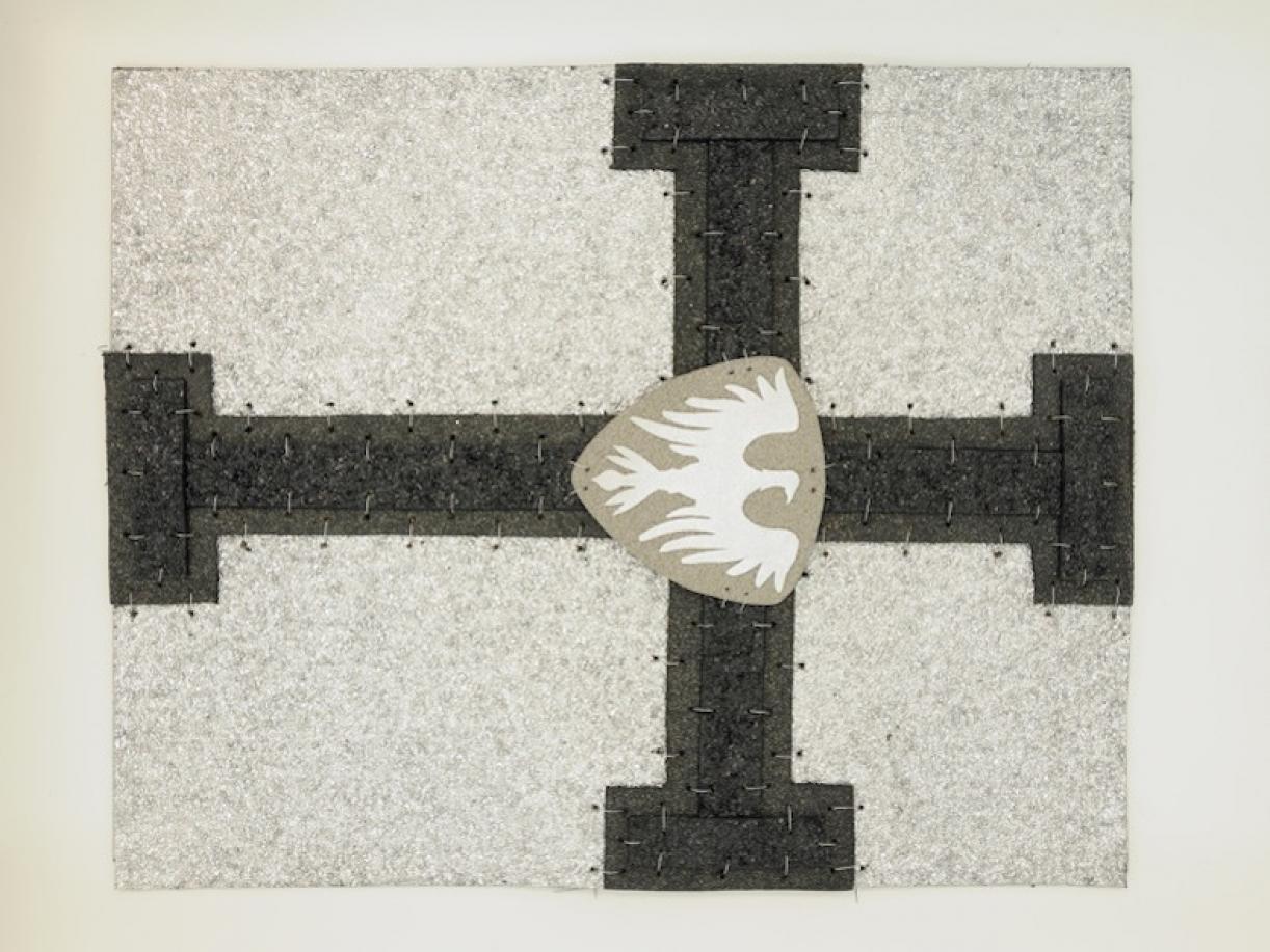 Cabaret Crusades:Flag 5, 2010, Tarmac, sandpaper, pigment, paint, galvanized wire, 40 x 50 cm, framed