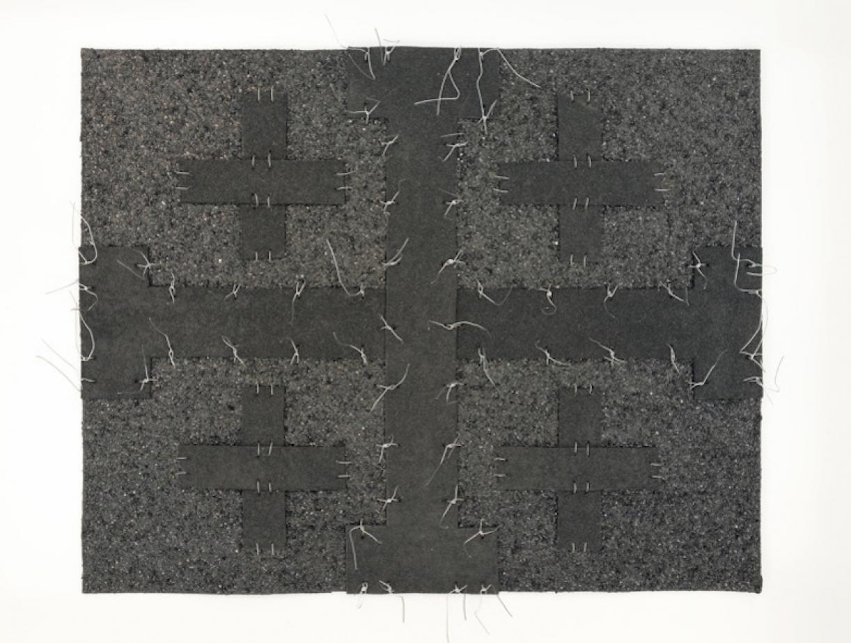 Cabaret Crusades:Flag 6, 2010, Tarmac, sandpaper, pigment, paint, galvanized wire, 40 x 50 cm, framed