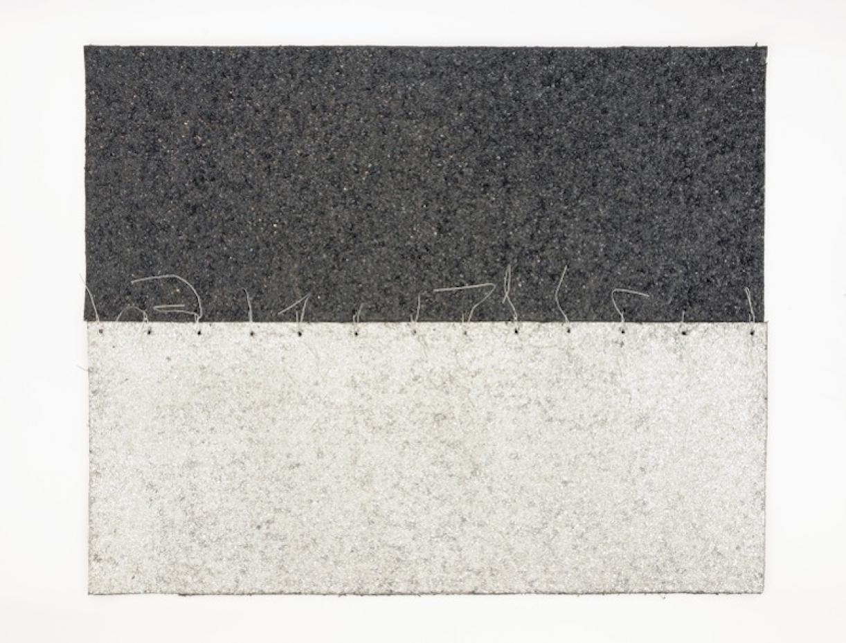 Cabaret Crusades:Flag 7, 2010, Tarmac, sandpaper, pigment, paint, galvanized wire, 40 x 50 cm, framed