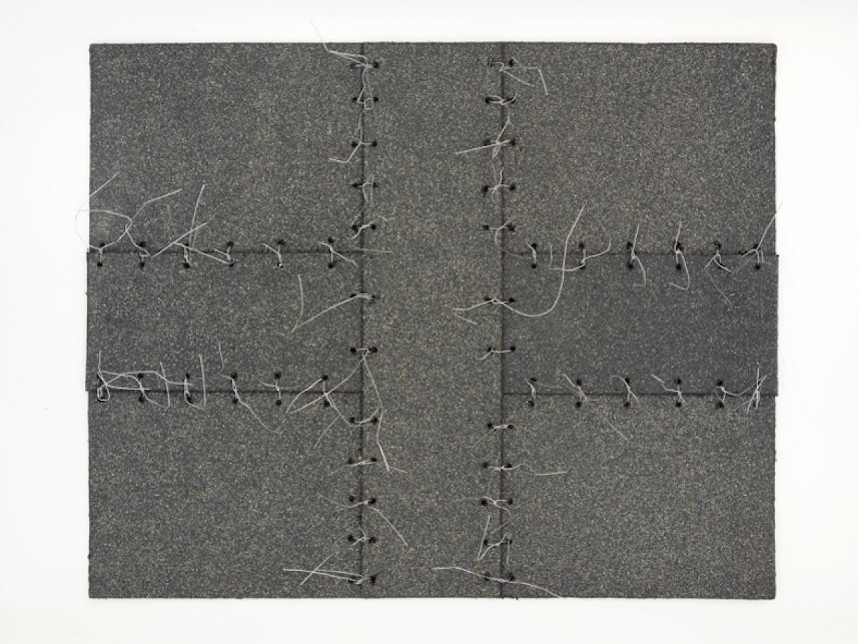 Cabaret Crusades:Flag 8, 2010, Tarmac, sandpaper, pigment, paint, galvanized wire, 40 x 50 cm, framed