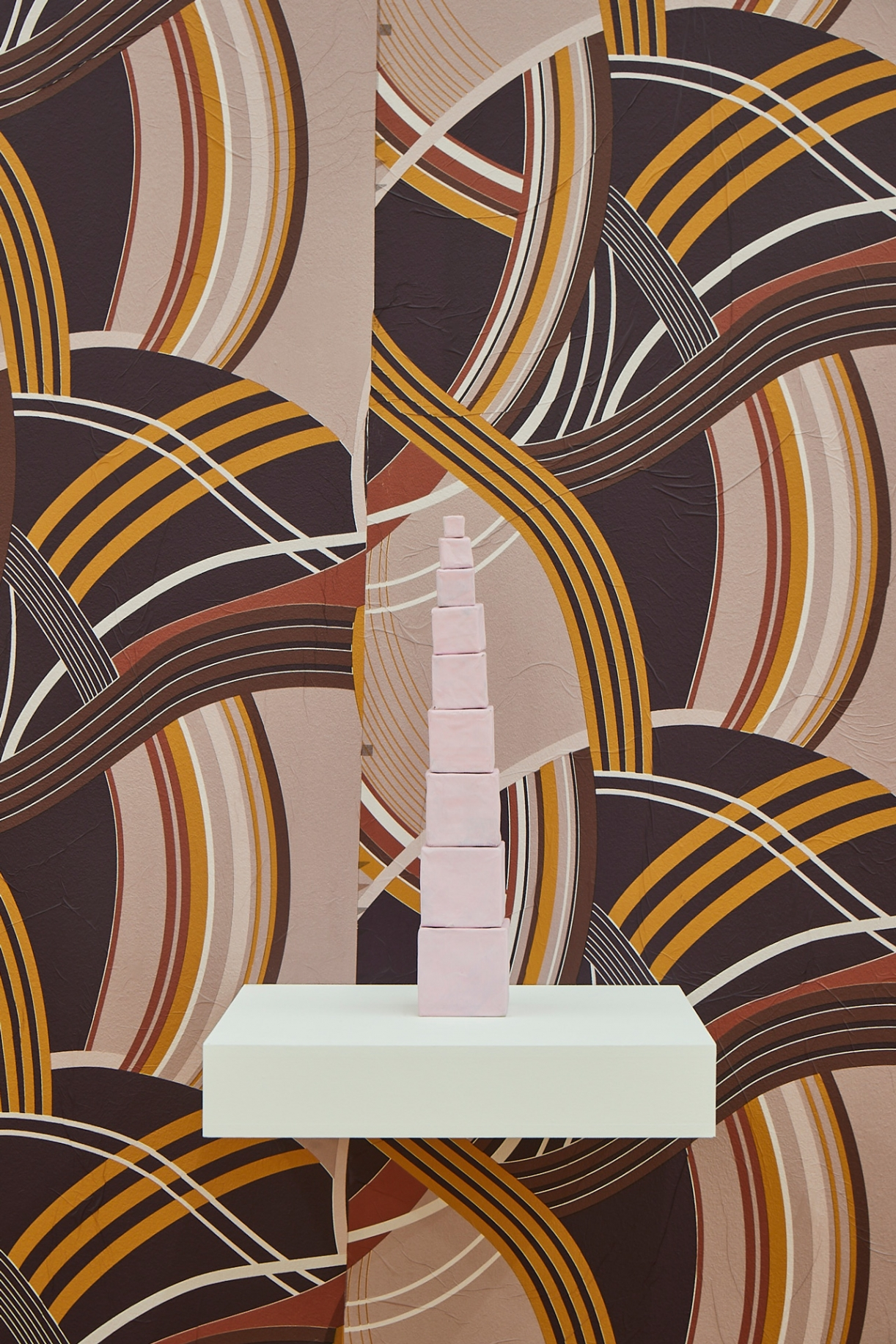 Pink Tower (Sensorial education toy), 2020, Papier mâché, 9 blocks, dimensions variable