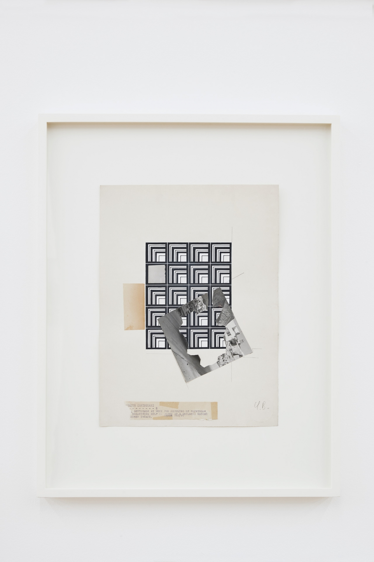 Untitled (collages), 2018, gouache, pencil, textile cut and pasted photographs, paper on paper, 57.5 x 48.5 x 4 cm
