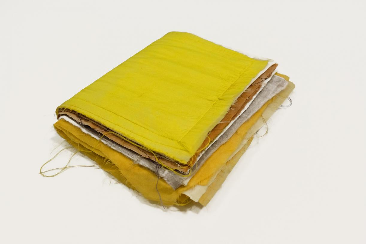 Untitled (Fiber Sample Book), 2016, silk, cotton, felt, 7 single patched, 20.4 x 17 x 6 cm