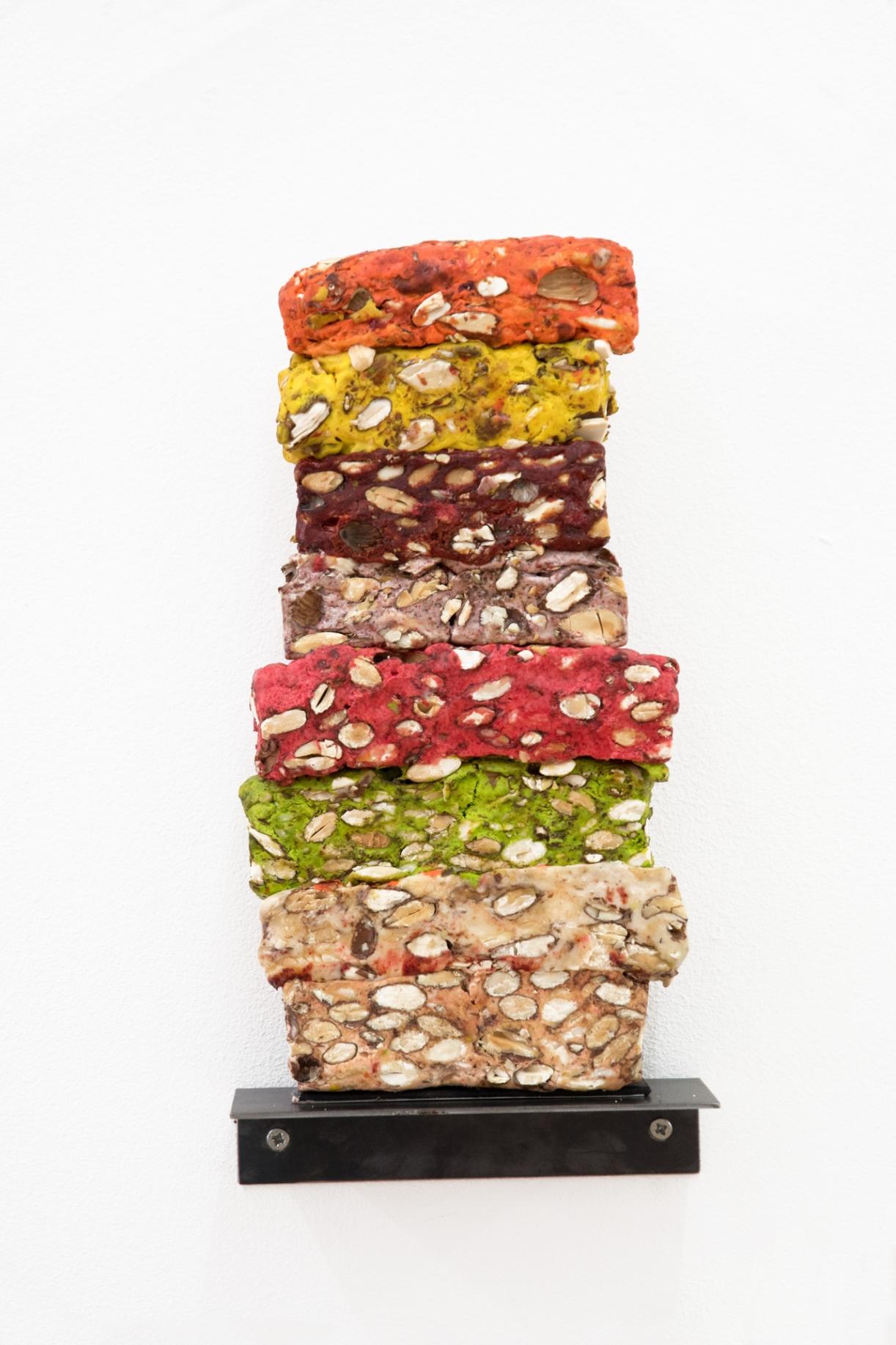 Untitled (Nougat Cross Section Flavor Sampler, fig.3), 2016, Moroccan sweets, vanished, 28.9 x 15 x 4.4 cm