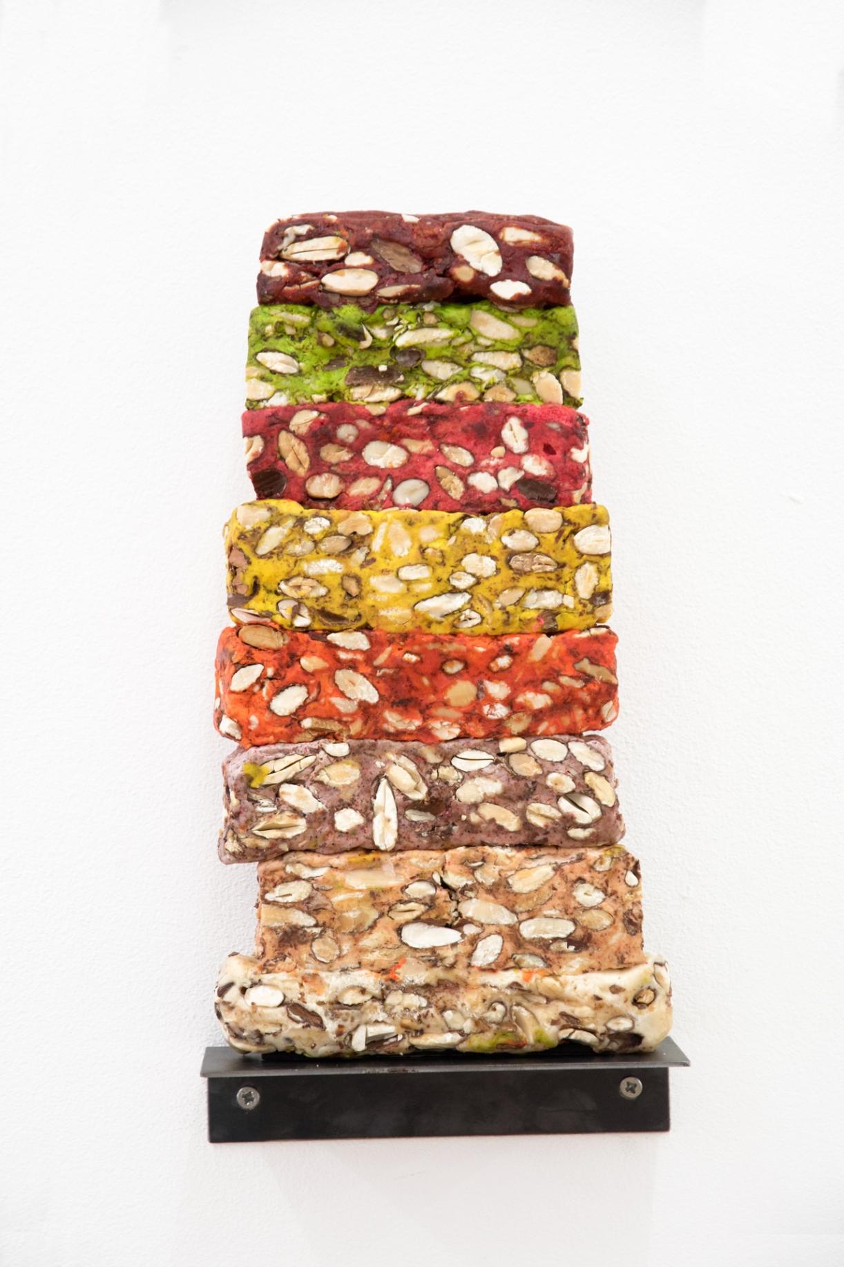 Untitled (Nougat Cross Section Flavor Sampler, fig.4), 2016, Moroccan sweets, vanished, 28 x 14.5 x 4.4 cm