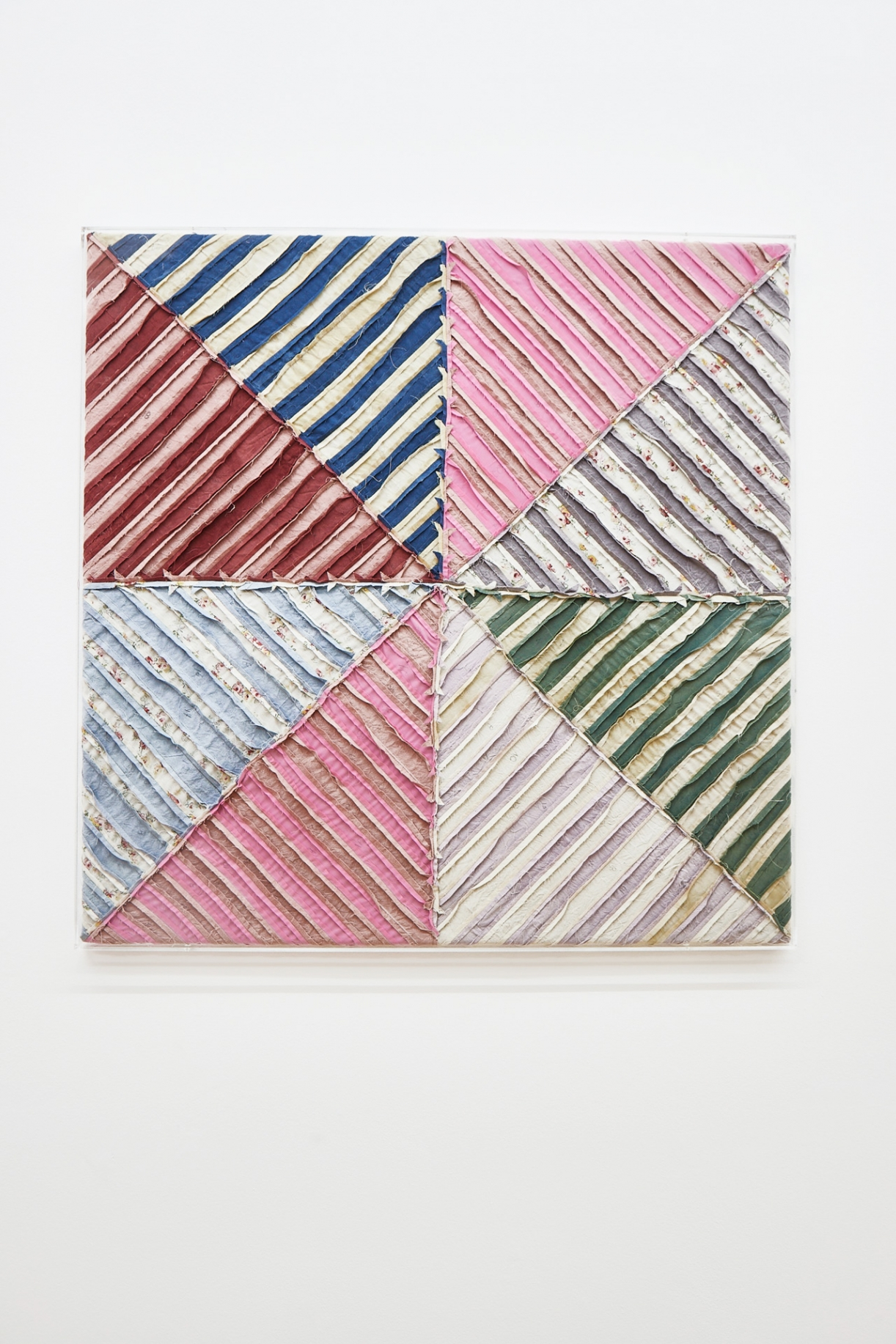 Untitled (After Stella Sidi Ifni II), 2020, cotton, silk on natural linen burlap, 98 x 98 x 3 cm