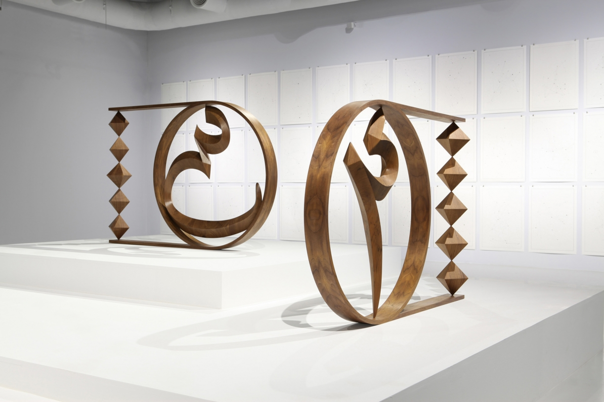 Timo Nasseri, Unknown Letters, 2015, Walnut and steel, 100 x 152 x 10 cm (each), Edition 3 + 1 AP
