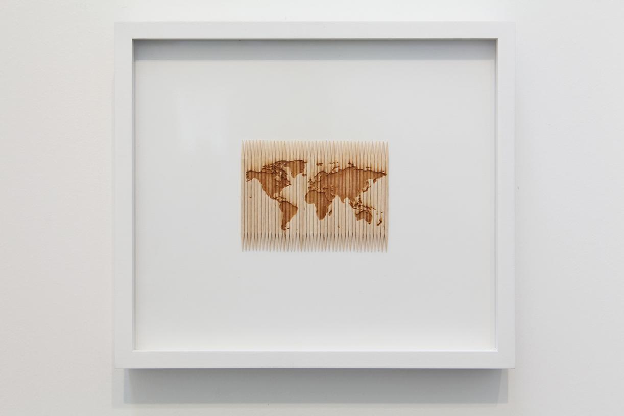 Untitled, 2012, Laser carving, toothpicks, 6,5 x 9 cm,19 x 22 cm framed