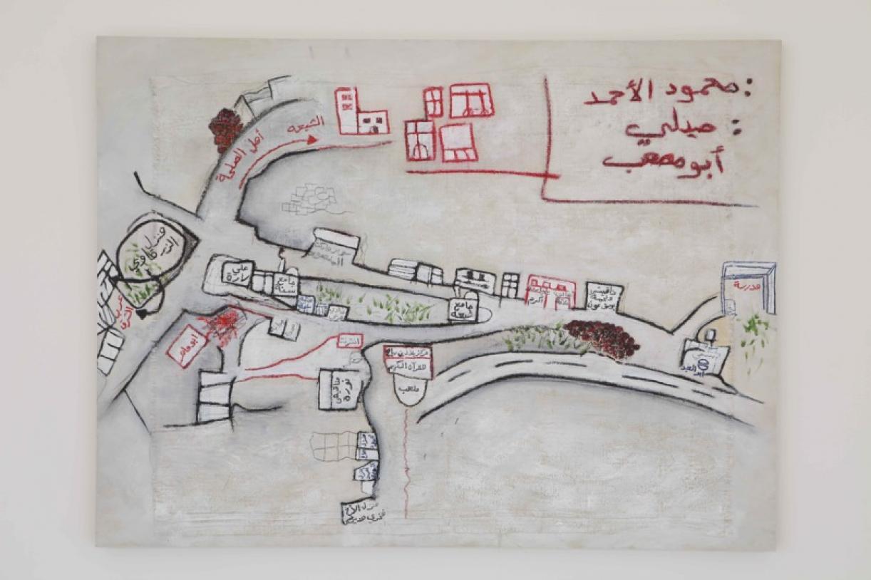 Shabriha #9, 2011, Acrylic, china marker and oil pastel on synthetic burlap, 90 x 120 cm