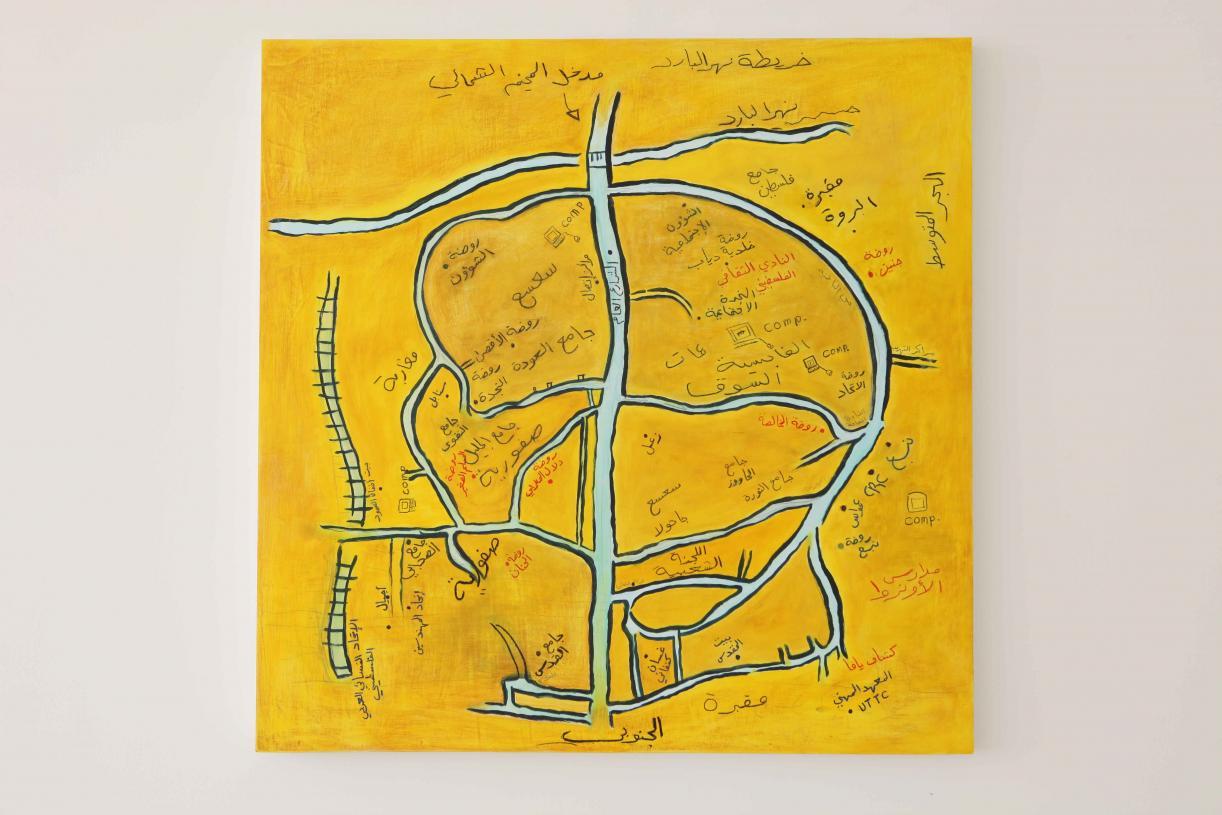 Nahr al Bared #1, 2011, Acrylic and oil pastel on wood, 122 x 122 cm