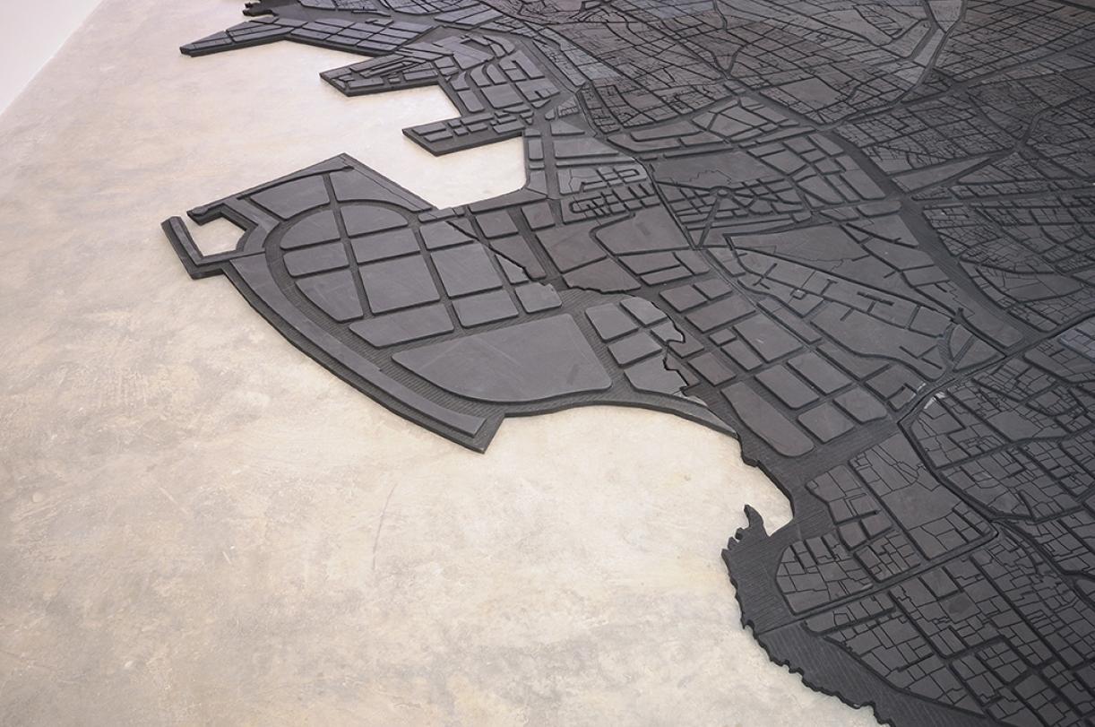 Beirut Caoutchouc, 2004-2008, rubber mild out, 825 x 675 x 3 cm, Ed. 5 + 1 AP, Detail