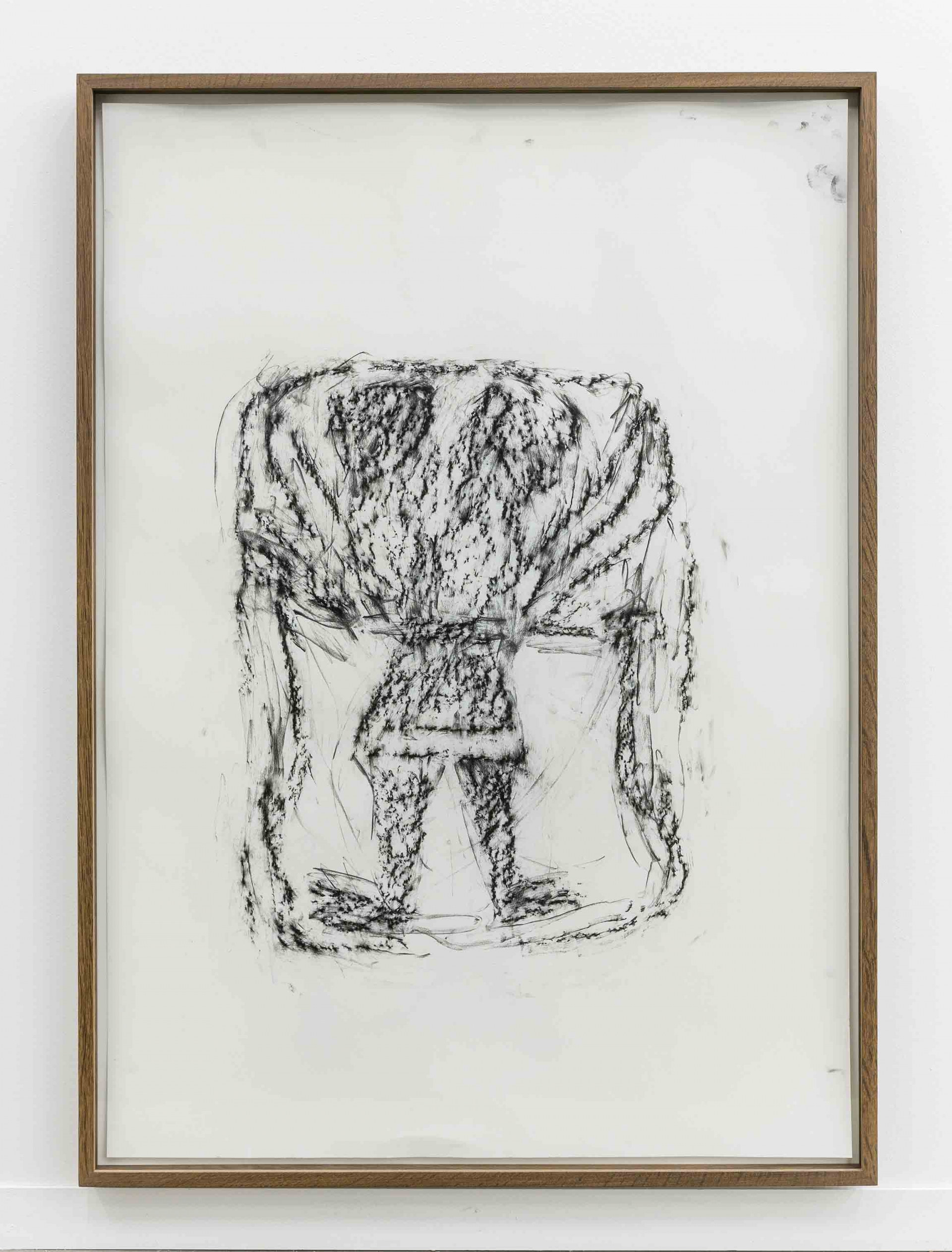 Orthostate #060 (Winged Man With Lion Head), 2017, 32 framed charcoal on paper rubbings, vinyl on wall, 107x77cm each