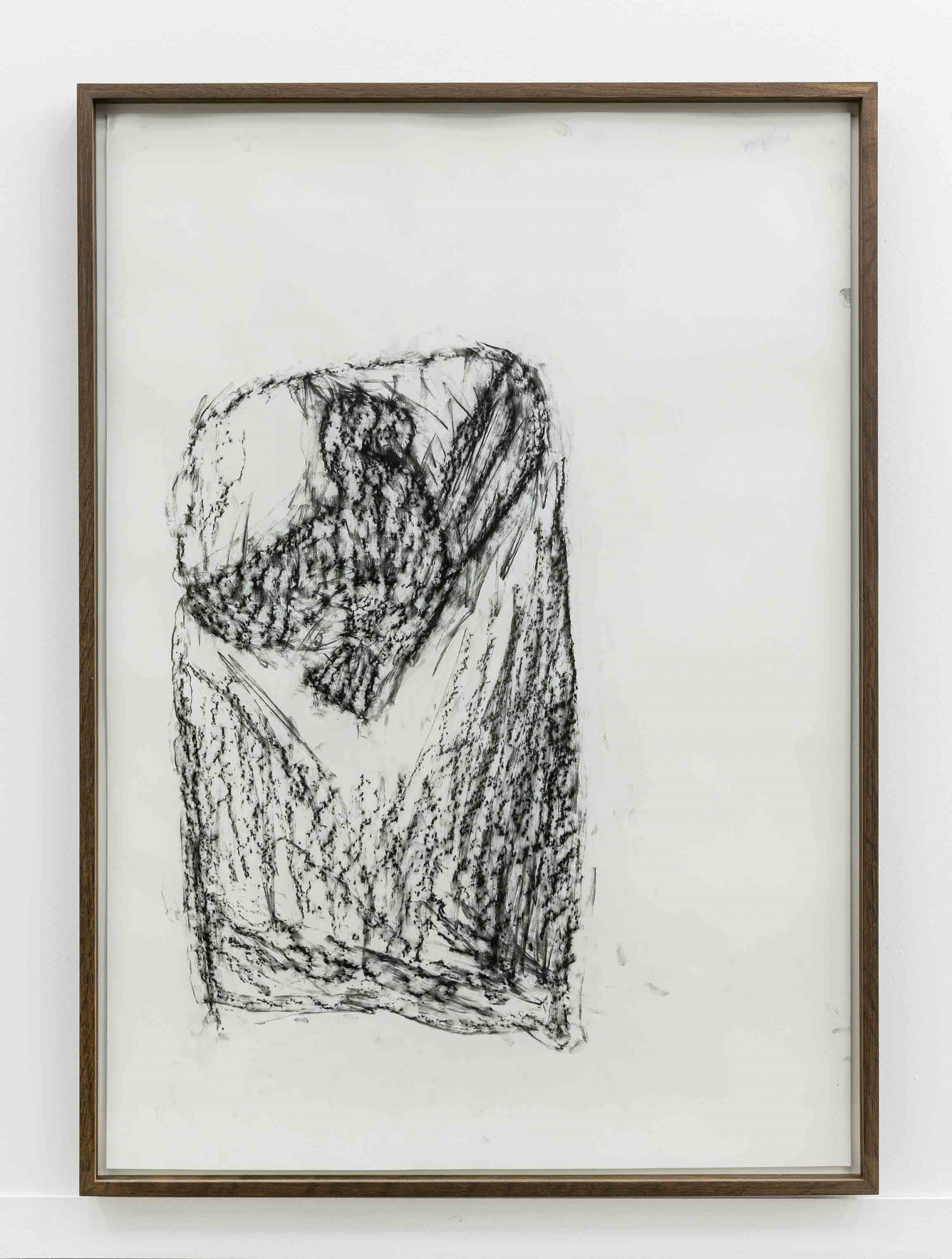 Orthostate #087 (Flying Bird), 2017, 32 framed charcoal on paper rubbings, vinyl on wall, 107x77cm each