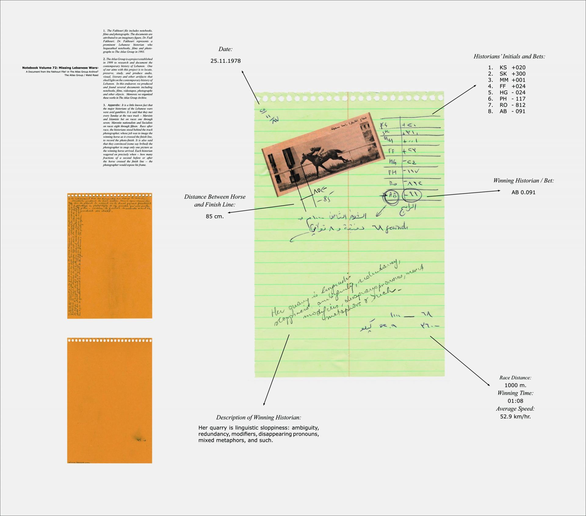 Notebook volume 72: Missing Lebanese Wars_The Linguist. 1989/1998, pigmented inkjet print, 112 x 127 cm