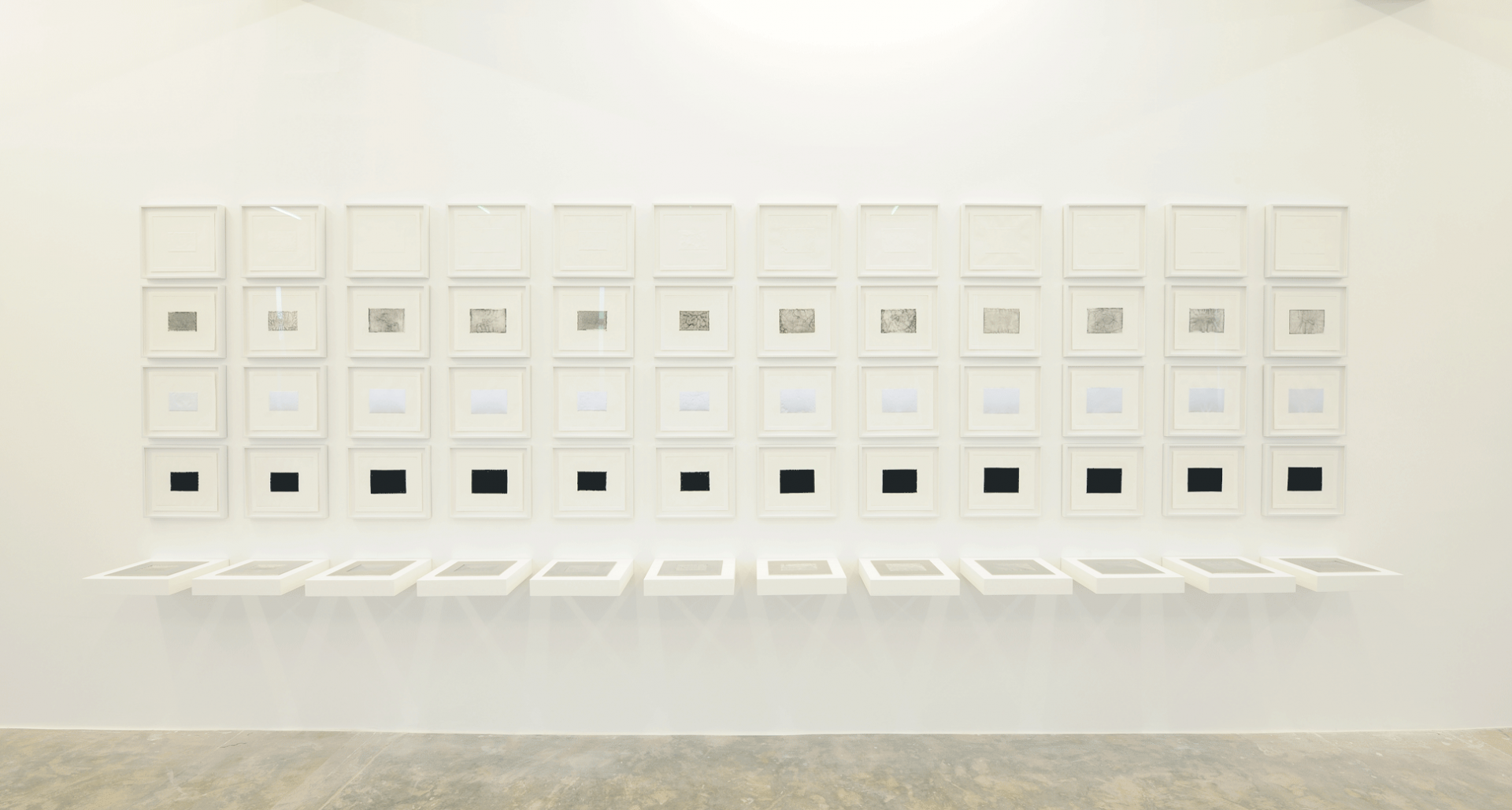 Against Photography, 2017, 12 Routed aluminum plates, 24 x 28 cm each, 4 Sets of intaglio and chine-collé prints, 27 x 31 cm each. Installation view Sfeir-Semler Gallery, Beirut