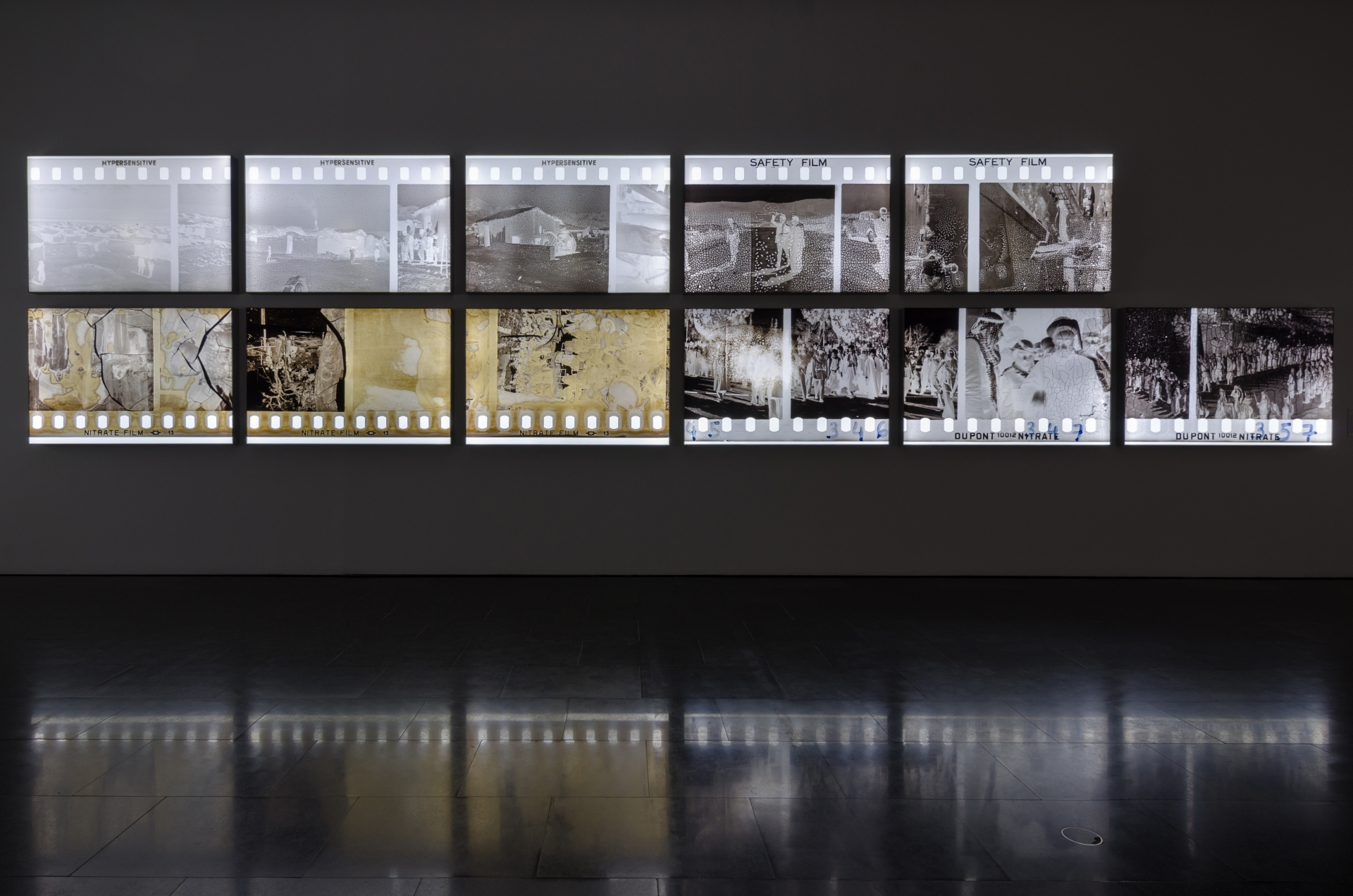 The Body Of Film, 2017, 14 pigment inkjet prints on backlit UV cloth, 100 x 150 x 10 cm each. Installation view MACBA, Barcelona. © Mirjan Mahmoud