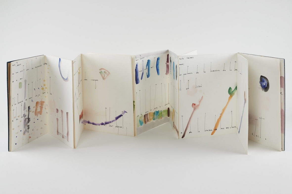 Wendell Berry, 1963, Folded leporello book, watercolor on paper. Closed: 29.8 x 22.4 x 1.9 cm, 24 pages. Max. extension: 532.8 cm