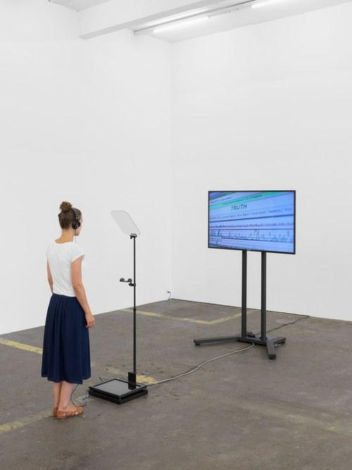 Contra Diction : Speech Against Itself, 2015,Video, teleprompter, Variable dimensions, Ed. 3 + 2 AP. Installation view Kunst Halle Sankt Gallen, Switzerland, 2015