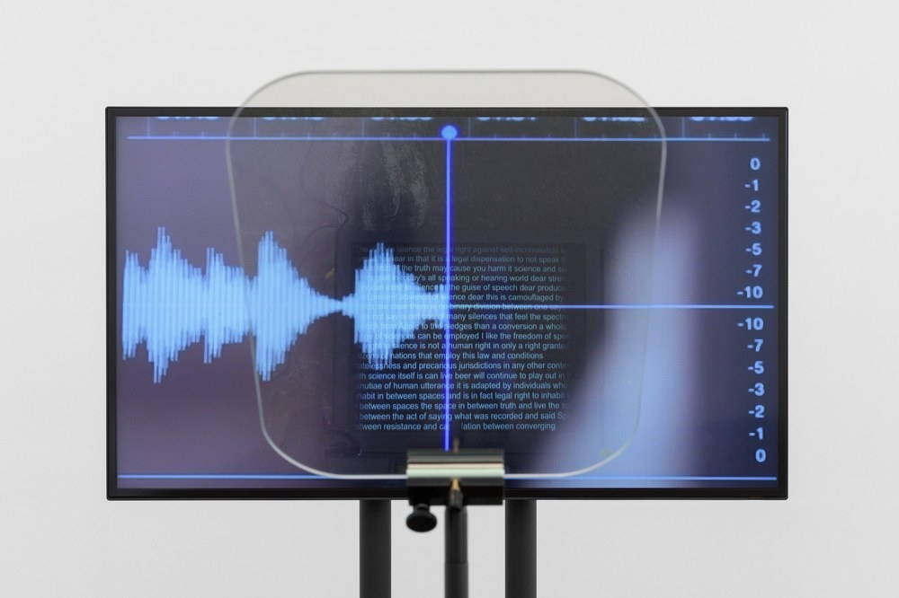 Contra Diction : Speech Against Itself, 2015, Video, teleprompter, Variable dimensions, Ed. 3 + 2 AP