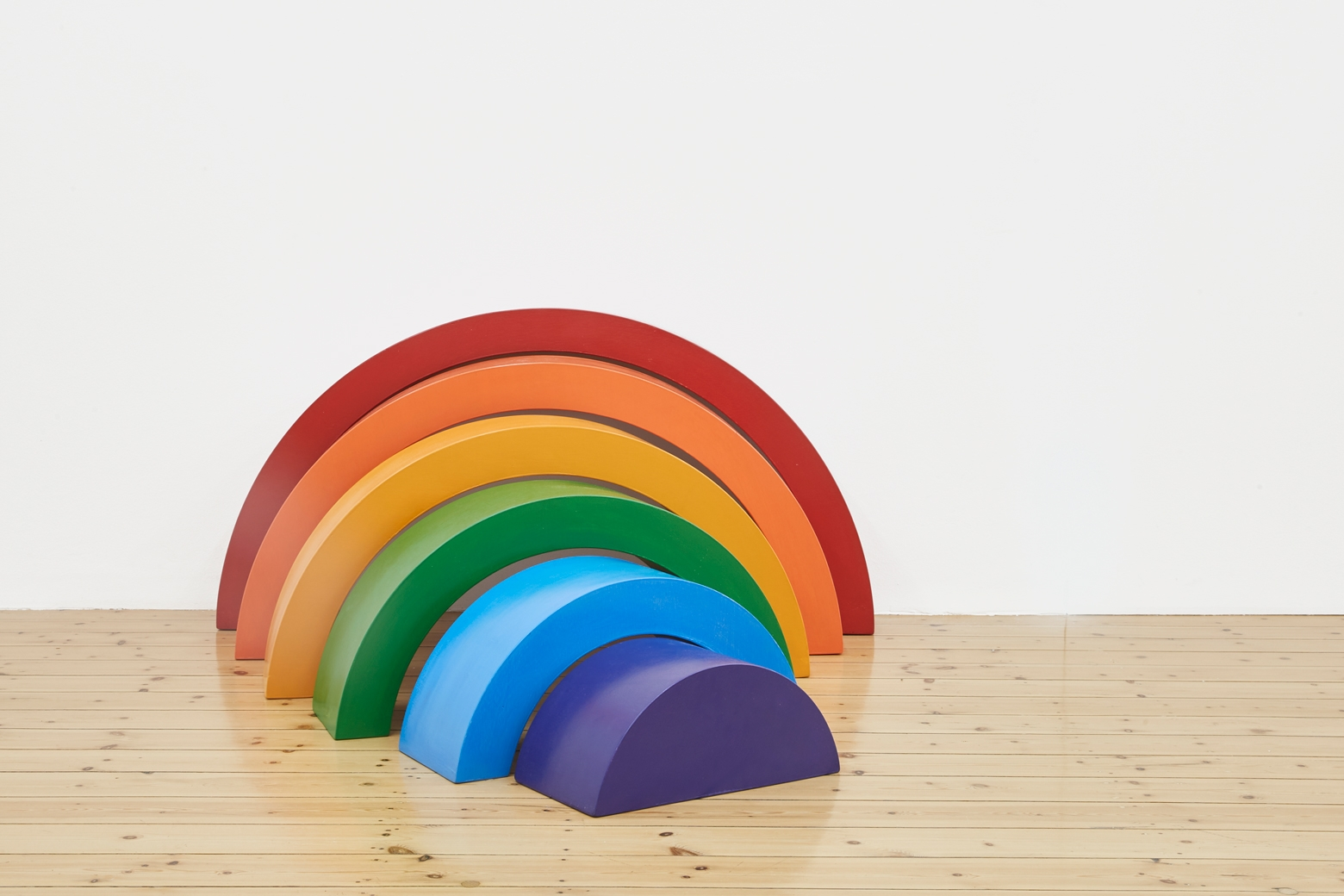 Rainbow, 2018, wood, paint, consisting of 6 elements, dimensions variable