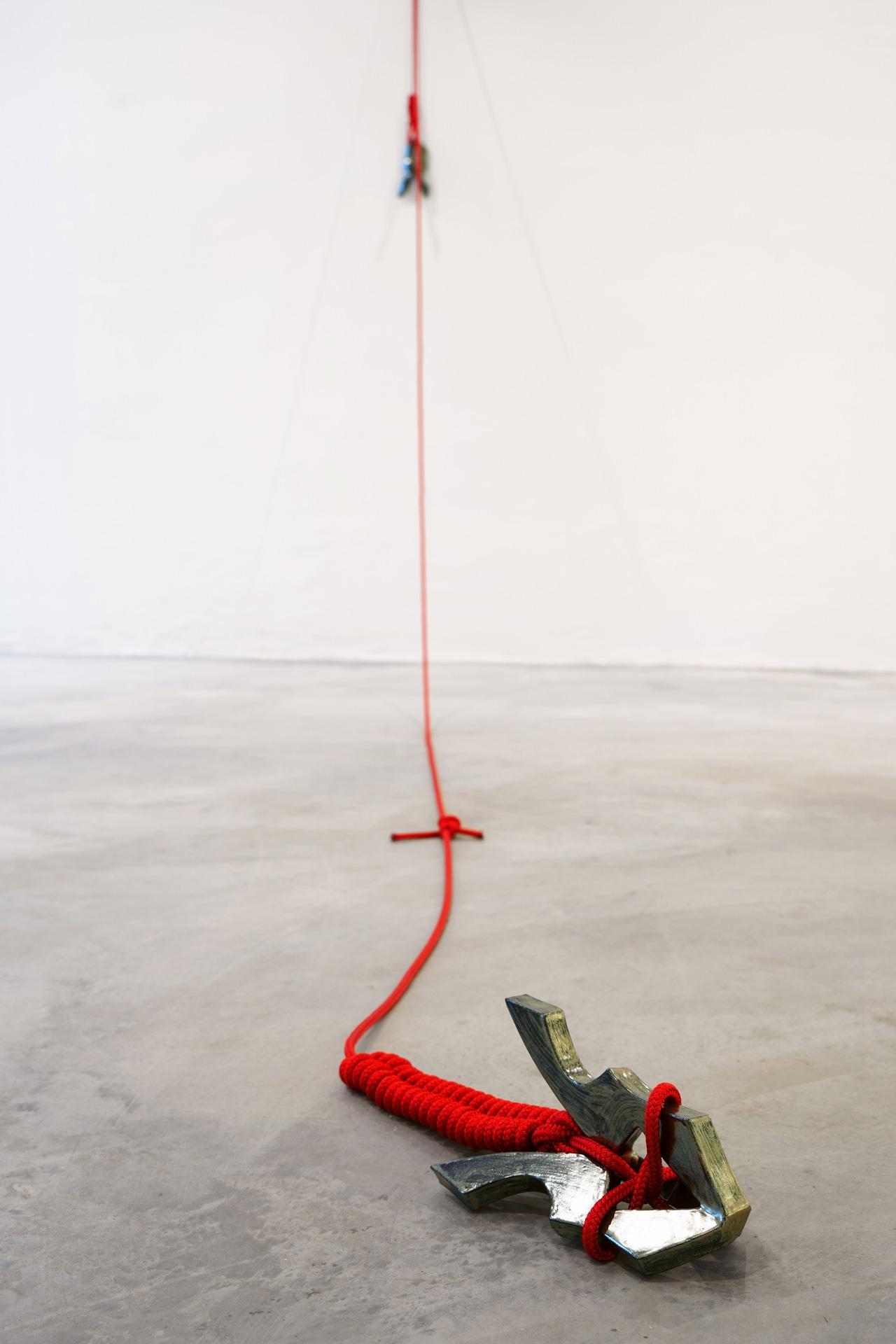 Timo Nasseri, Silverblack-Red Duo, 2019, Glazed ceramics and rope, 50 x 21 x 21 cm