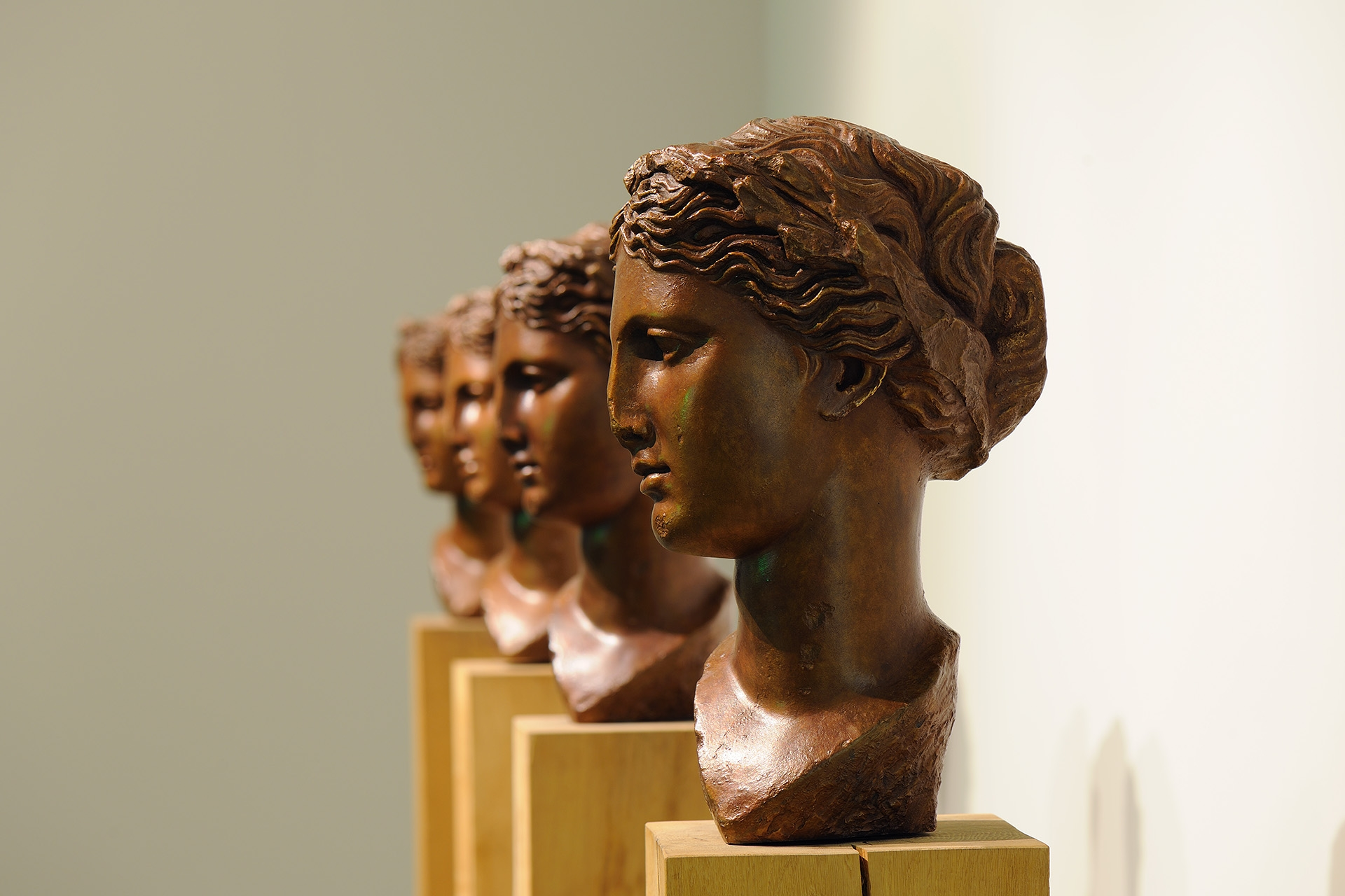 4 Muses, 2006 with Peter Coates, Bronze on oak plinth, 36 x 24 x 24 cm each on 20 x 20 x 140 cm plinth, Unique