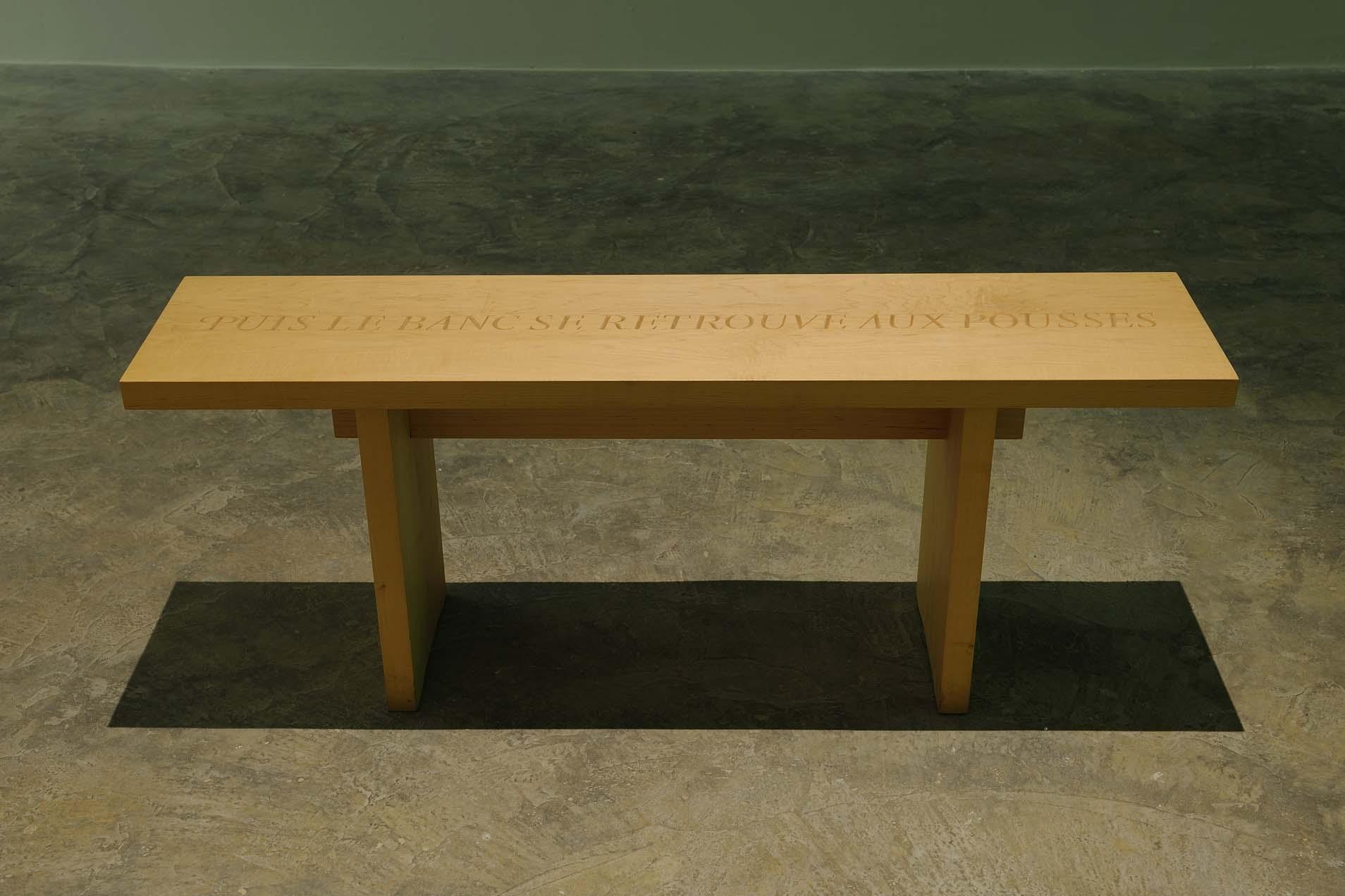 Puis le banc se retrouve aux pousses, 1997 with Caroline Webb, Wooden bench, 40 x 114 x 26 cm, Unique