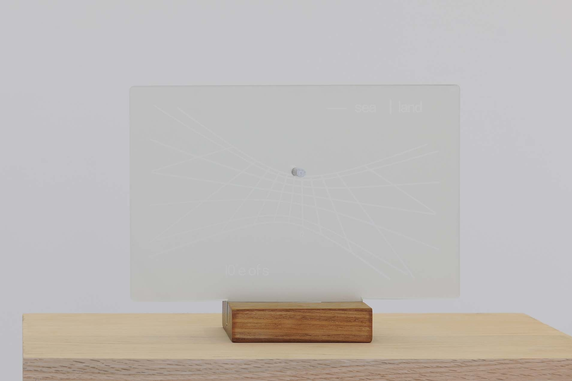 Sea/Land, 1970 with Michael Harvey and Joanna Soroka, Engraved glass, wooden stand, 30.5 x 23 x 10 cm, stand 12.5 x 10 cm, Small edition