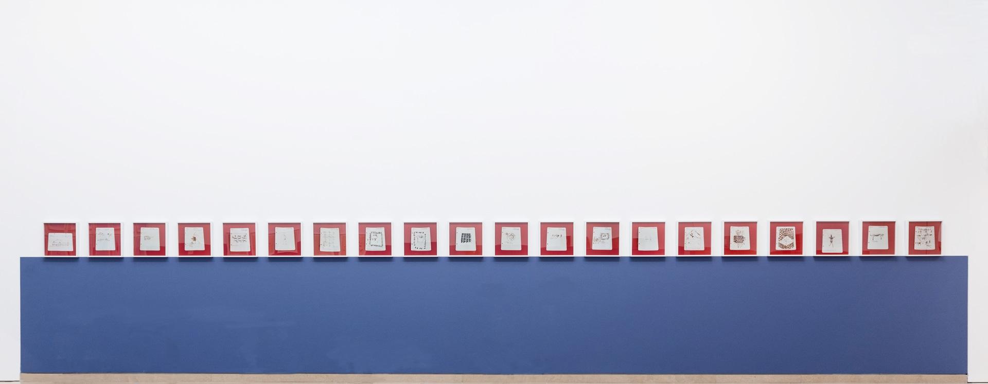 Untitled (Album de dessins indigènes series (album of North African drawings)), 2014-2015, chromogenic print, 40 x 40 cm each. Installation view, Carré d'Art, Nîmes, 2015