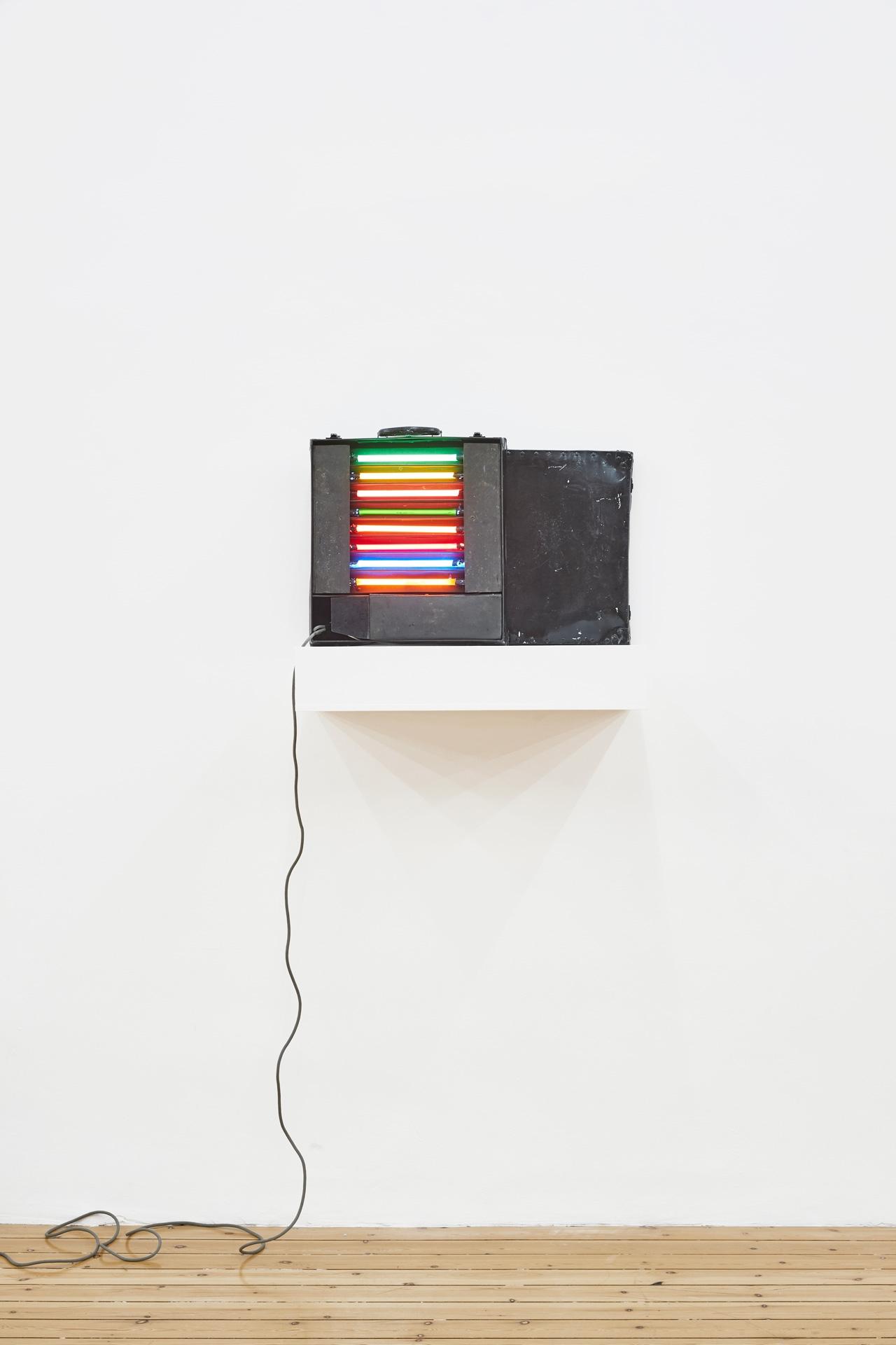 Found Suitcase, 2020, neon, metal, plastic, 12.7 x 40.64 x 43.18 cm