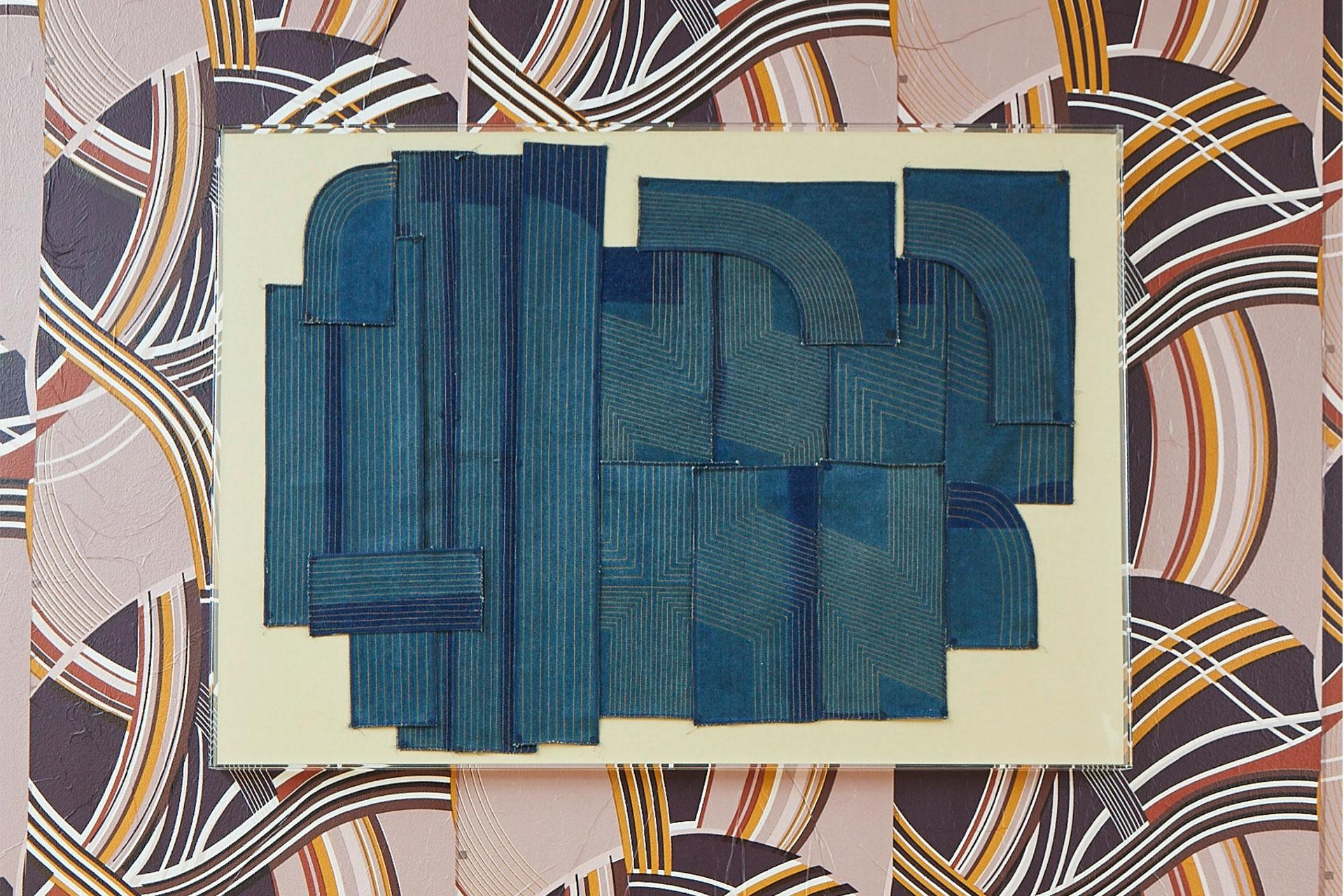 Untitled (practice pieces on denim), 2020, denim thread, 114.3 x 76.2 cm