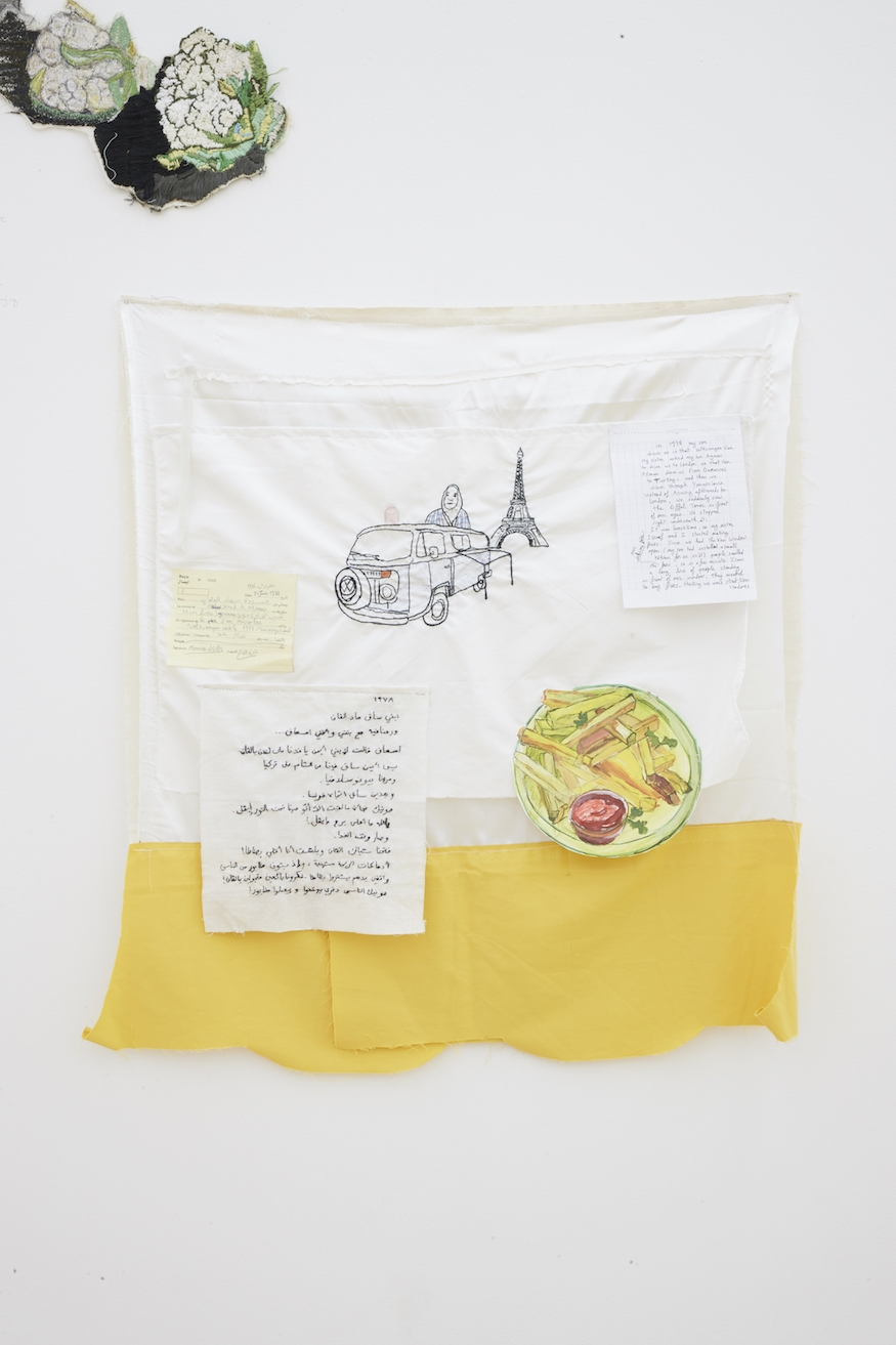 Damascus-Istanbul-Paris Van #1, 2016, Hand and machine stitched embroideries, pen, marker on textile and paper, 86.5 x 77 cm