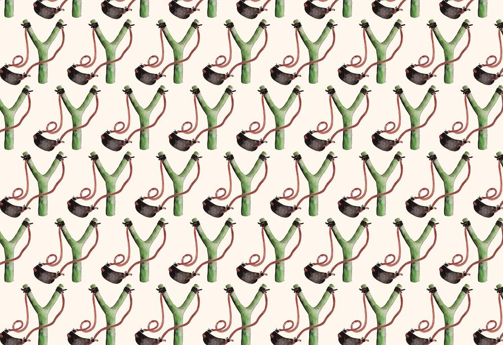 Intifada_Slingshots, 2016, Wallpaper, 400 x 61 cm, Edition 7 + 3 AP