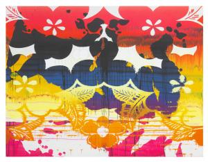 Christine Streuli, Nightshade_01, 2017, Mixed media on canvas, 230 x 300 cm