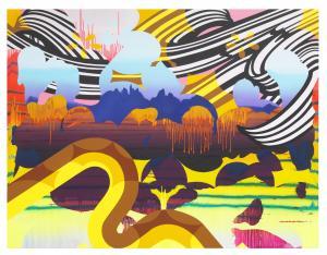 Christine Streuli, Nightshade_04, 2017, Mixed media on canvas, 230 x 300 cm