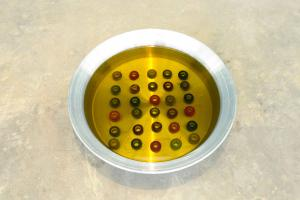 Incubation, 1995 - 2017, Round metal pot, olive oil, embroidery threads, Variable dimensions, Ed. 3 + 2 AP