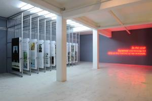 Act II: Painting, 2011, 24 paintings, oil on canvas;100 × 200 cm each,;12 sliding metal racks, 365 x 200 x 4.5 cm eacha