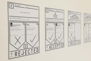 Conflicted Phonemes, 2012, Timeline: Vinyl wallprint 267 x 205 cm, Individual voice-maps, A4 black and white: vinyl wall prints & take away copies printed on embossed paper on a shelf. Wall print 265 x 205 cm; A4 papers 21 x 29.7 cm. Ed. 5 + 2 AP. Installation View, Sfeir-Semler Gallery Beirut, 2017