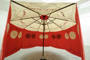 Mina El Shourouk ila Al Fahmah, 2019, Parasol, embroidered tents, 3.5 x 3.5 m, Installation view, Sfeir-Semler Gallery Beirut, 2019
