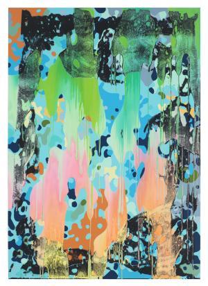 Christine Streuli, Warainting_006, 2016/17, Mixed media on canvas, 243,5 x 173 cm