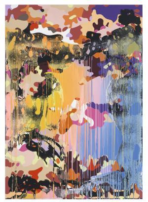 Christine Streuli, Warainting_007, 2016/17, Mixed media on canvas, 243,5 x 173 cm