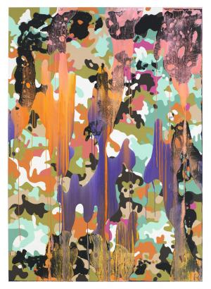 Christine Streuli, Warainting_009, 2016/17, Mixed media on canvas, 243,5 x 173 cm
