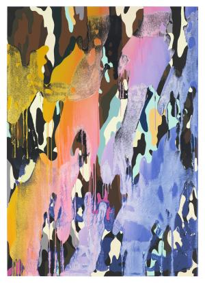 Christine Streuli, Warainting_010, 2016/17, Mixed media on canvas, 243,5 x 173 cm