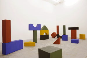 Lyautey Unit Blocks, 2010, wood, paint, dimensions variable. Installation view Sfeir-Semler Gallery, Beirut, 2016