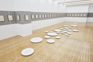 Rayyane Tabet, Rosettes, 2021, Single rosettes between 29 and 100cm diameter, Installation size variable, Exhibition view Sfeir-Semler Gallery Hamburg 2021