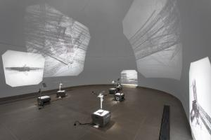 Saydnaya (ray traces), 2017,Installation: 6 inkjet prints on acetate sheets on overhead projectors, Variable dimensions, Ed. 3 + 2 AP, Installation view, Hammer Museum, LA, 2018