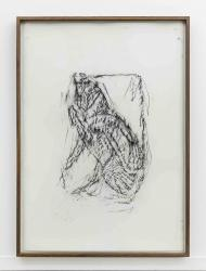 Orthostate #148 (Winged Lion With Horns), 2017, 32 framed charcoal on paper rubbings, vinyl on wall, 107x77cm each