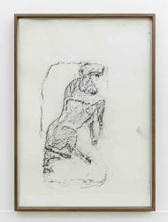 Orthostate #093 (Bull), 2017, 32 framed charcoal on paper rubbings, vinyl on wall, 107x77cm each
